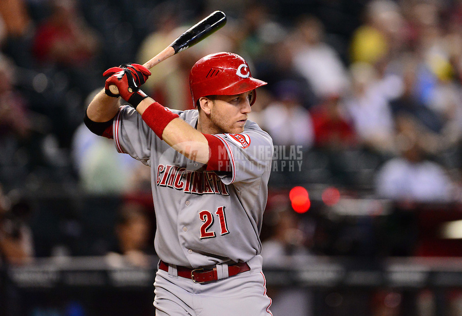 Aug. 29, 2012; Phoenix, AZ, USA: Cincinnati Reds third baseman Todd Frazier in the second inning against the Arizona Diamondbacks at Chase Field. Mandatory Credit: Mark J. Rebilas-