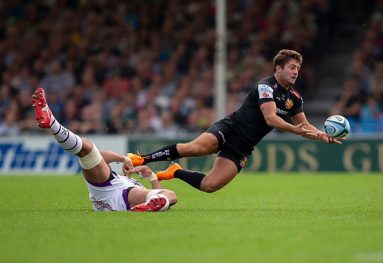 Exeter Chiefs' Santiago Cordero in action during todays match<br /> <br /> Photographer Bob Bradford/CameraSport<br /> <br /> Gallagher Premiership - Exeter Chiefs v Leicester Tigers - Saturday September 1st 2018 - Sandy Park - Exeter <br /> <br /> World Copyright © 2018 CameraSport. All rights reserved. 43 Linden Ave. Countesthorpe. Leicester. England. LE8 5PG - Tel: +44 (0) 116 277 4147 - admin@camerasport.com - www.camerasport.com