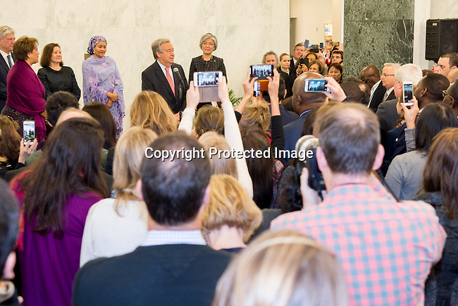On his first day at work, António Guterres, the new United Nations Secretary-General, laid a wreath in honour of UN staff fallen in the line of duty and addressed staff members gathered to welcome him