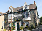 Three Tuns hotel traditional village pub building, St Keverne, Lizard Peninsula, Cornwall, England, UK