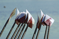 REDWOOD SHORES, CA - MARCH 31:  Oars of the Stanford Cardinal during Stanford's regatta against the Santa Clara Broncos on March 31, 2001 in Redwood Shores, California.