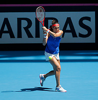 9th November 2019; RAC Arena, Perth, Western Australia, Australia; Fed Cup by BNP Paribas Tennis Final, Day 1, Australia versus France; Caroline Garcia of France plays a backhand shot against Ash Barty of Australia during the second rubber