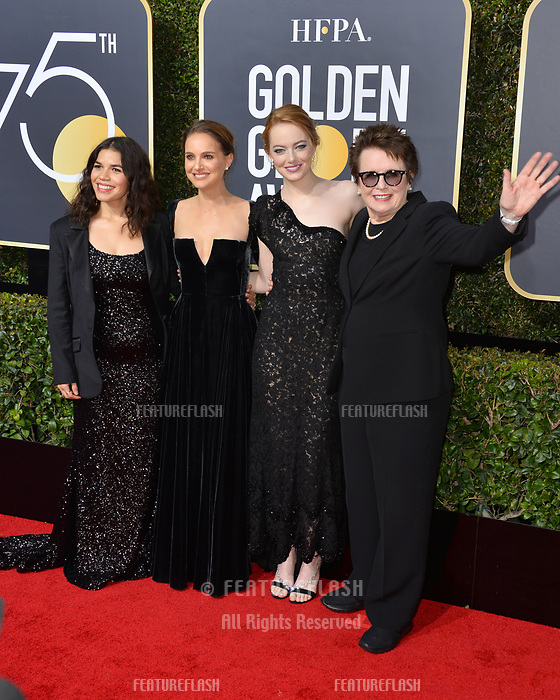 America Ferrera, Natalie Portman, Emma Stone &amp; Billie Jean King at the 75th Annual Golden Globe Awards at the Beverly Hilton Hotel, Beverly Hills, USA 07 Jan. 2018<br /> Picture: Paul Smith/Featureflash/SilverHub 0208 004 5359 sales@silverhubmedia.com