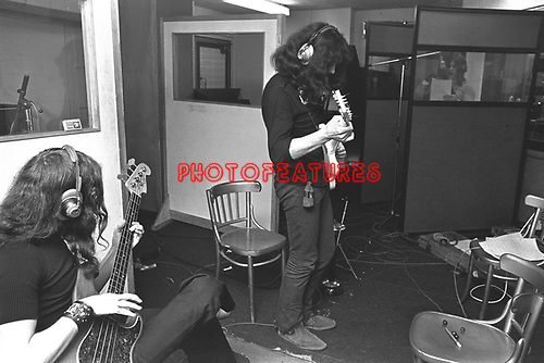 Black Sabbath 1970 Geezer Butler Tony Iommi and Ozzy Osbourne at Regents Sounds during Paranoid sessions<br /> &copy; Chris Walter