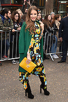 Xenia Tchoumitcheva<br /> arrives for the Topshop Unique AW17 show as part of London Fashion Week AW17 at Tate Modern, London.<br /> <br /> <br /> &copy;Ash Knotek  D3232  19/02/2017