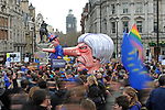 "An effigy of Prime Minister Theresa May on the edge of Trafalgar Square today during the ""Put it to the People"" rally which made it's way through central London today. Demonstrators from across the country gathered to call for a second referendum on Brexit and to march through the UK capital finishing with speeches in Parliament Square opposite the Houses of Parliament in Westminster."