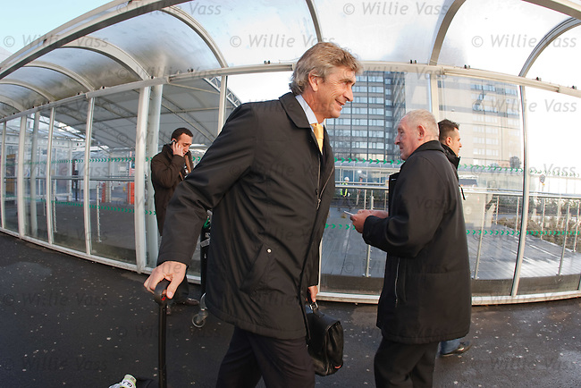 Villarreal manager Manuel Pelligrini arrives in Glasgow ahead of his teams match with Celtic