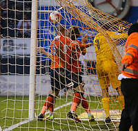 Luton Town players retrieve the ball after scoring the opening goal during the Sky Bet League 2 Play Off Semi Final 2 leg match between Luton Town and Blackpool at Kenilworth Road, Luton, England on 18 May 2017. Photo by David Horn.