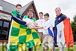 There is great excitement and rivalry as New York cousins Robert and Luke Corridan take on their cousin Jack Corridan from Killarney at Feile Peile this weekend. The boys are pictured with their dads, brothers Paul and Robert Corridan.