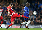 5th December 2017, Stamford Bridge, London, England; UEFA Champions League football, Chelsea versus Atletico Madrid; Koke of Atletico Madrid challenges Ngolo Kante of Chelsea