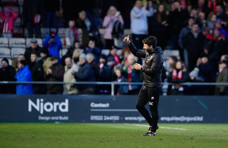 Lincoln City manager Danny Cowley applauds the fans at the final whistle<br /> <br /> Photographer Chris Vaughan/CameraSport<br /> <br /> The EFL Sky Bet League Two - Lincoln City v Northampton Town - Saturday 9th February 2019 - Sincil Bank - Lincoln<br /> <br /> World Copyright © 2019 CameraSport. All rights reserved. 43 Linden Ave. Countesthorpe. Leicester. England. LE8 5PG - Tel: +44 (0) 116 277 4147 - admin@camerasport.com - www.camerasport.com