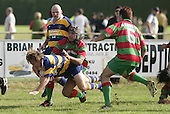 Though Kane Hancy goes to ground in the tackle of S. Beatty his momentum will carry him across the tryline. Counties Manukau Premier Club Rugby, Waiuku vs Patumahoe played at Rugby Park, Waiuku on the 8th of April 2006. Waiuku won 18 - 15