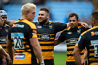 Kieran Brookes and Rob Miller of Wasps look on in a post-match huddle. Gallagher Premiership match, between Wasps and Leicester Tigers on September 16, 2018 at the Ricoh Arena in Coventry, England. Photo by: Patrick Khachfe / JMP
