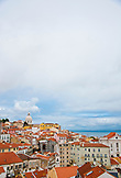 PORTUGAL, Lisbon, View of Alfama district and Church of Santa Engrácia, taken from Palacio Belmonte