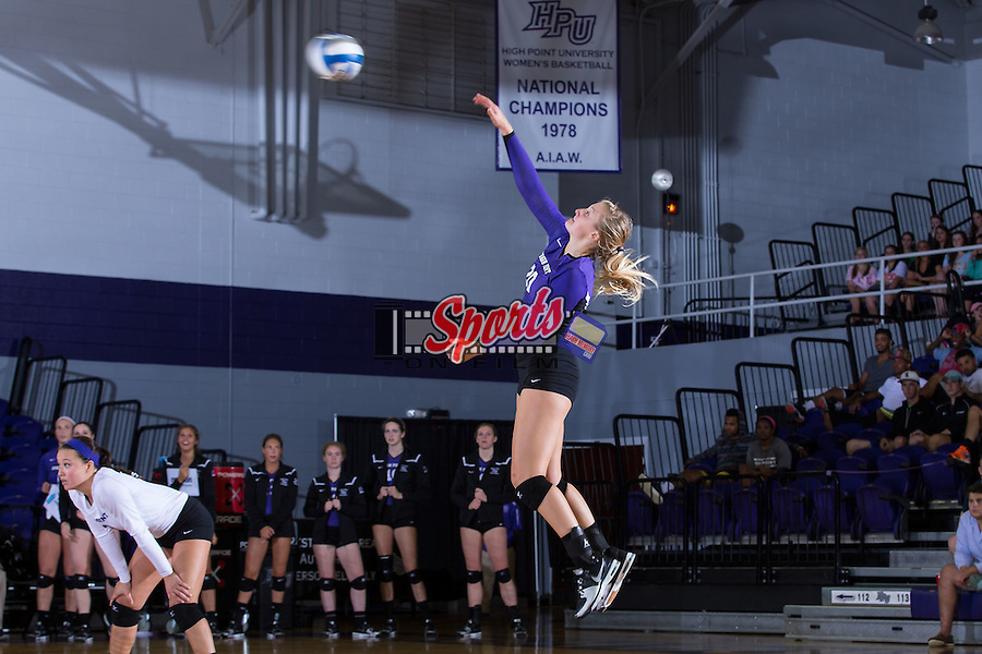 Haley Barnes (20) of the High Point Panthers serves against the UNC Greensboro Spartans at Millis Athletic Center on September 16, 2014 in High Point, North Carolina.  The Panthers defeated the Spartans 3-0.   (Brian Westerholt/Sports On Film)