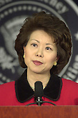 Washington, DC - January 11, 2001 -- Elaine Chao speaks after U.S. President-elect George W. Bush named her as Secretary of Labor in Washington, DC on January 11, 2001.<br /> Credit: Ron Sachs / CNP
