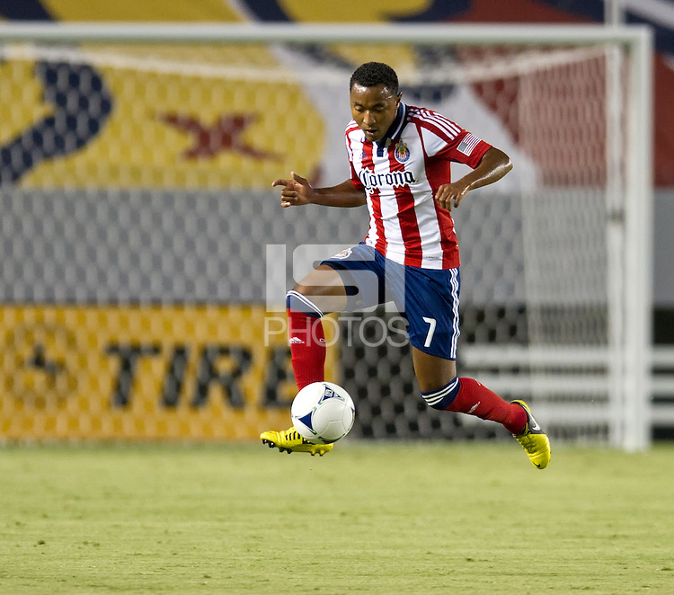 CARSON, CA - August 25, 2012: Chivas USA defender James Riley (7) during the Chivas USA vs Seattle Sounders match at the Home Depot Center in Carson, California. Final score, Chivas USA 2, Seattle Sounders 6.