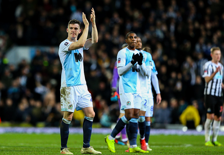 Blackburn Rovers' goalscorer Darragh Lenihan applauds the fans after the match<br /> <br /> Photographer Alex Dodd/CameraSport<br /> <br /> Emirates FA Cup Third Round Replay - Blackburn Rovers v Newcastle United - Tuesday 15th January 2019 - Ewood Park - Blackburn<br />  <br /> World Copyright © 2019 CameraSport. All rights reserved. 43 Linden Ave. Countesthorpe. Leicester. England. LE8 5PG - Tel: +44 (0) 116 277 4147 - admin@camerasport.com - www.camerasport.com