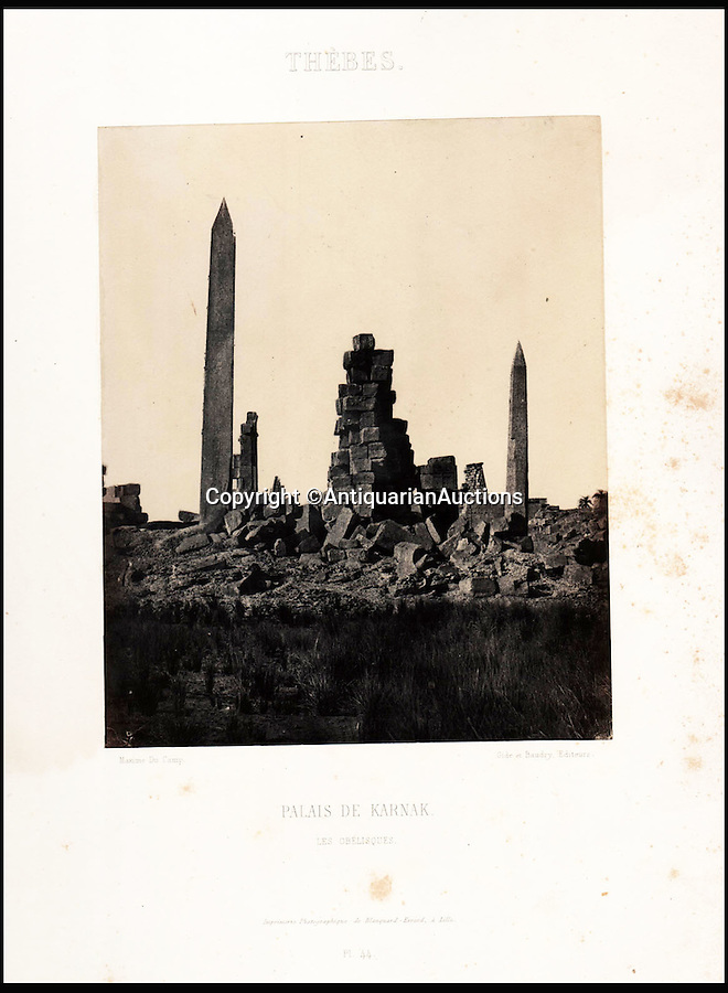 BNPS.co.uk (01202 558833)<br /> Pic: AntiquarianAuctions/BNPS<br /> <br /> Ruined Temple of Karnak in Thebes - Modern Luxor.<br /> <br /> First Impression's - earliest prints of ancient Egypt uncovered <br /> <br /> Calotypes from the 1840's revealed the stunning architecture of the ancient civilisation to the Victorian public for the first time.<br /> <br /> The stunning collection - comprising 59 black and white images of sights including the pyramids, the Sphinx and statues at Aswan - is among the first known volumes of travel photography.<br /> <br /> Produced at a time when camera technology was still in its infancy, they were captured by Maxime Du Camp, the son of a wealthy French surgeon, between 1849 and 1851 during a government-funded expedition with his friend and literary great Gustave Flaubert.<br /> <br /> They are being sold by Antiquarian Auctions in an online sale which ends on Thursday.