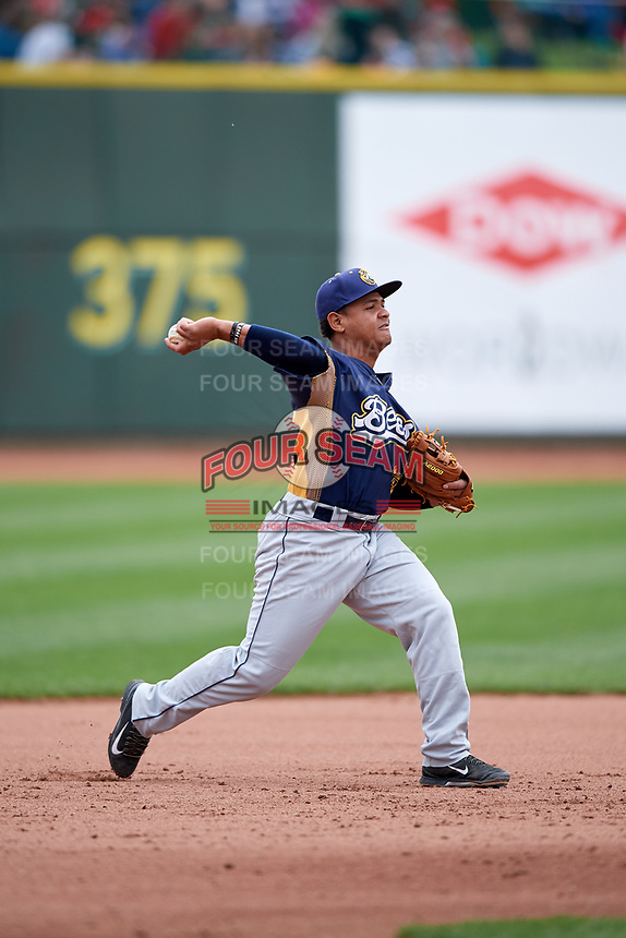 Burlington Bees third baseman Jeyson Sanchez (30) throws to first base during a game against the Great Lakes Loons on May 4, 2017 at Dow Diamond in Midland, Michigan.  Great Lakes defeated Burlington 2-1.  (Mike Janes/Four Seam Images)