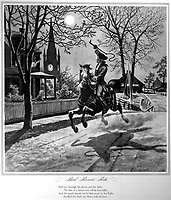 Paul Revere's Ride.  1775.  Copy of illustration by Modern Enterprises, ca. 1942. (OWI)<br />