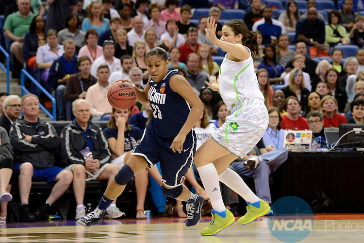 07 APR 2013:  Kaleena Mosqueda-Lewis (23) of the University of Connecticut drives to the hoop against the University of Notre Dame during the Division I Women's Basketball Championship in New Orleans, LA.  Jamie Schwaberow/NCAA Photos