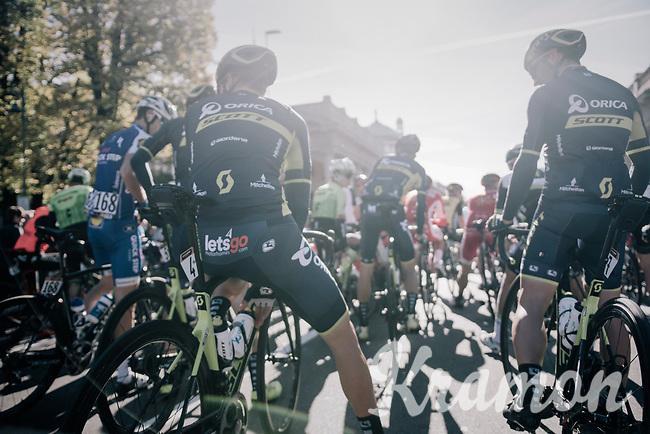 Team Orica-Scott ready for the 111th Il Lombardia 2017 from Bergamo to Como (ITA) 247km
