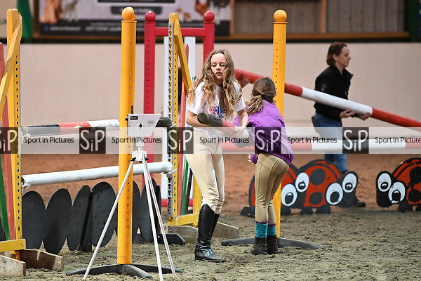 Stapleford Abbotts. United Kingdom. 26 October 2019. Class 6. Pony club winter league preliminary round qualifier 2019/20. 90cm. Essex hunt north pony club showjumping. Brook Farm training centre. Stapleford Abbotts. Essex. United Kingdom. Credit Garry Bowden/Sport in Pictures.~ 26/10/2019.  MANDATORY Credit Garry Bowden/SIP photo agency - NO UNAUTHORISED USE - 07837 394578