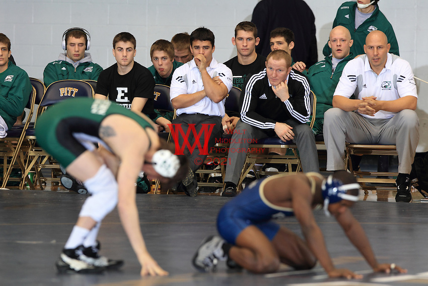 Eastern Michigan University Wrestling team competes in the Pitt Dual.