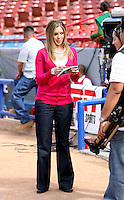 Carolina Guillen, sideline reporter for ESPN Deportes..Photo by:  Bill Mitchell/Four Seam Images