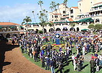 DEL MAR, CA - NOVEMBER 04: Spectators line the paddock before the Golden State Juvenile race on Day 2 of the 2017 Breeders' Cup World Championships at Del Mar Racing Club on November 4, 2017 in Del Mar, California. (Photo by Casey Phillips/Eclipse Sportswire/Breeders Cup)