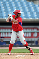 Wesley Rodriguez (44) of George Washington High School in Bronx, New York playing for the Philadelphia Phillies scout team during the East Coast Pro Showcase on August 2, 2014 at NBT Bank Stadium in Syracuse, New York.  (Mike Janes/Four Seam Images)