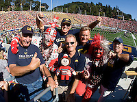 California and Ohio State fans pose together for group photo before the game between California and Ohio State at Memorial Stadium in Berkeley, California on September 14th, 2013.  Ohio State defeated California, 52-34.