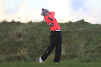 Alex Maguire (Laytown &amp; Bettystown) on the 18th tee during Round 3 of the Ulster Boys Championship at Portrush Golf Club, Portrush, Co. Antrim on the Valley course on Thursday 1st Nov 2018.<br /> Picture:  Thos Caffrey / www.golffile.ie<br /> <br /> All photo usage must carry mandatory copyright credit (&copy; Golffile | Thos Caffrey)