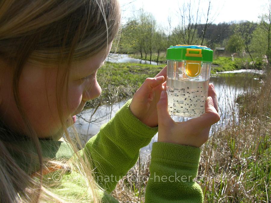 Mädchen beobachtet Froschlaich, Laich von Fröschen im Becherlupenglas