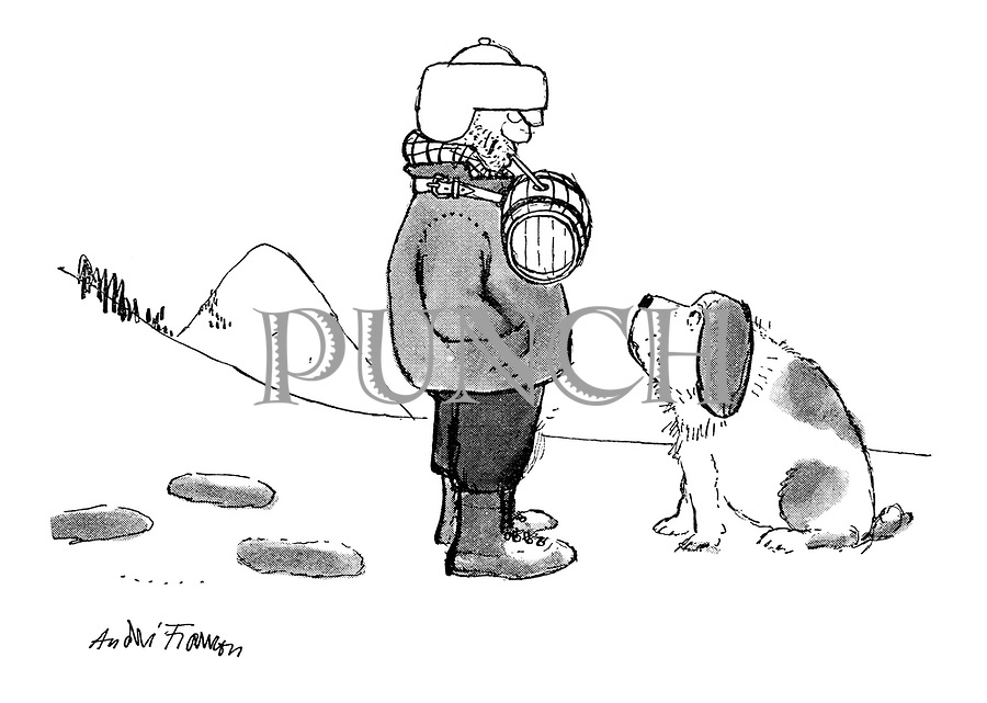 (A man straps a St Bernard's brandy barrel around his own neck and drinks the contents through a straw)