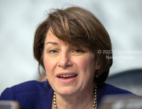 """United States Senator Amy Klobuchar (Democrat of Minnesota) joins the debate about the release of documents designated """"committee confidential"""" prior to the US Senate Judiciary Committee beginning the third day of testimony from Judge Brett Kavanaugh on his nomination as Associate Justice of the US Supreme Court to replace the retiring Justice Anthony Kennedy on Capitol Hill in Washington, DC on Thursday, September 6, 2018.<br /> Credit: Ron Sachs / CNP<br /> (RESTRICTION: NO New York or New Jersey Newspapers or newspapers within a 75 mile radius of New York City)"""