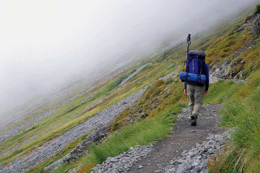 Hiker on Chain Lakes Trail, North Cascades, Cascade Mountains, Washington