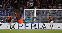 Calcio, Champions League, Gruppo E: Roma vs Barcellona. Roma, stadio Olimpico, 16 settembre 2015.<br /> FC Barcelona&rsquo;s Luis Suarez, center, heads to score during a Champions League, Group E football match between Roma and FC Barcelona, at Rome's Olympic stadium, 16 September 2015.<br /> UPDATE IMAGES PRESS/Isabella Bonotto