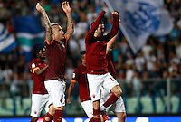 "Calcio, Serie A: Empoli vs Roma. Empoli, stadio ""Carlo Castellani"" 13 settembre 2014. <br /> Roma midfielders Radja Nainggolan, of Belgium, left, Miralem Pjanic, of Bosnia, and their teammates greet fans at the end of the Italian Serie A football match between Empoli and AS Roma at Empoli's ""Carlo Castellani"" stadium, 13 September 2014. Roma won 1-0.<br /> UPDATE IMAGES PRESS/Isabella Bonotto"