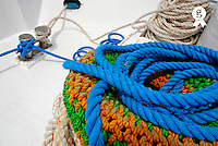 Rope stack on boat deck, Red Sea, Egypt (Licence this image exclusively with Getty: http://www.gettyimages.com/detail/82406639 )