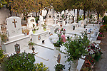 Marble grave crypts, cemetery, Naoussa, Greece.