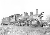Right hand 3/4 view of K-27 #454 at engine house.<br /> D&amp;RGW  Montrose, CO  about 1951