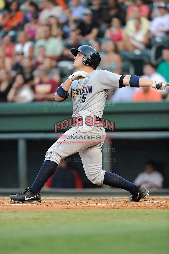 Catcher Wes Wilson (5) of the Charleston RiverDogs in a game against the Greenville Drive on Wednesday, August 28, 2013, at Fluor Field at the West End in Greenville, South Carolina. Greenville won, 2-1. (Tom Priddy/Four Seam Images)