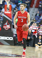 Washington, DC - March 10, 2018: Davidson Wildcats guard Jon Axel Gudmundsson (3) brings the ball up the court during the Atlantic 10 semi final game between St. Bonaventure and Davidson at  Capital One Arena in Washington, DC.   (Photo by Elliott Brown/Media Images International)