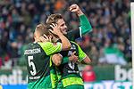 10.02.2019, Weser Stadion, Bremen, GER, 1.FBL, Werder Bremen vs FC Augsburg, <br /> <br /> DFL REGULATIONS PROHIBIT ANY USE OF PHOTOGRAPHS AS IMAGE SEQUENCES AND/OR QUASI-VIDEO.<br /> <br />  im Bild<br /> <br /> jubel tor 4:0 <br /> Kevin Möhwald / Moehwald (Werder Bremen #06)<br /> Sebastian Langkamp (Werder Bremen #15)<br /> Ludwig Augustinsson (Werder Bremen #05)<br /> <br /> Foto © nordphoto / Kokenge
