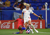 20190702 - LYON , FRANCE : American Crystal Dunn pictured defending on English Rachel Daly (r) during the female soccer game between England  - the Lionesses - and The United States of America  – USA - , a knock out game in the semi finals of the FIFA Women's  World Championship in France 2019, Tuesday 2 nd July 2019 at the Stade de Lyon  Stadium in Lyon  , France .  PHOTO SPORTPIX.BE | DAVID CATRY