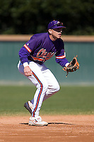 Shortstop Stan Widman (6) of the Clemson Tigers on defense versus the Wake Forest Demon Deacons during the second game of a double header at Gene Hooks Stadium in Winston-Salem, NC, Sunday, March 9, 2008.