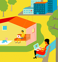 People teleworking from home and outdoors ExclusiveImage