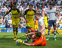 Burton Albion's Stephen Bywater saves at the feet of Preston North End's Tom Barkhuizen<br /> <br /> Photographer Alex Dodd/CameraSport<br /> <br /> The EFL Sky Bet Championship - Preston North End v Burton Albion - Sunday 6th May 2018 - Deepdale Stadium - Preston<br /> <br /> World Copyright &copy; 2018 CameraSport. All rights reserved. 43 Linden Ave. Countesthorpe. Leicester. England. LE8 5PG - Tel: +44 (0) 116 277 4147 - admin@camerasport.com - www.camerasport.com
